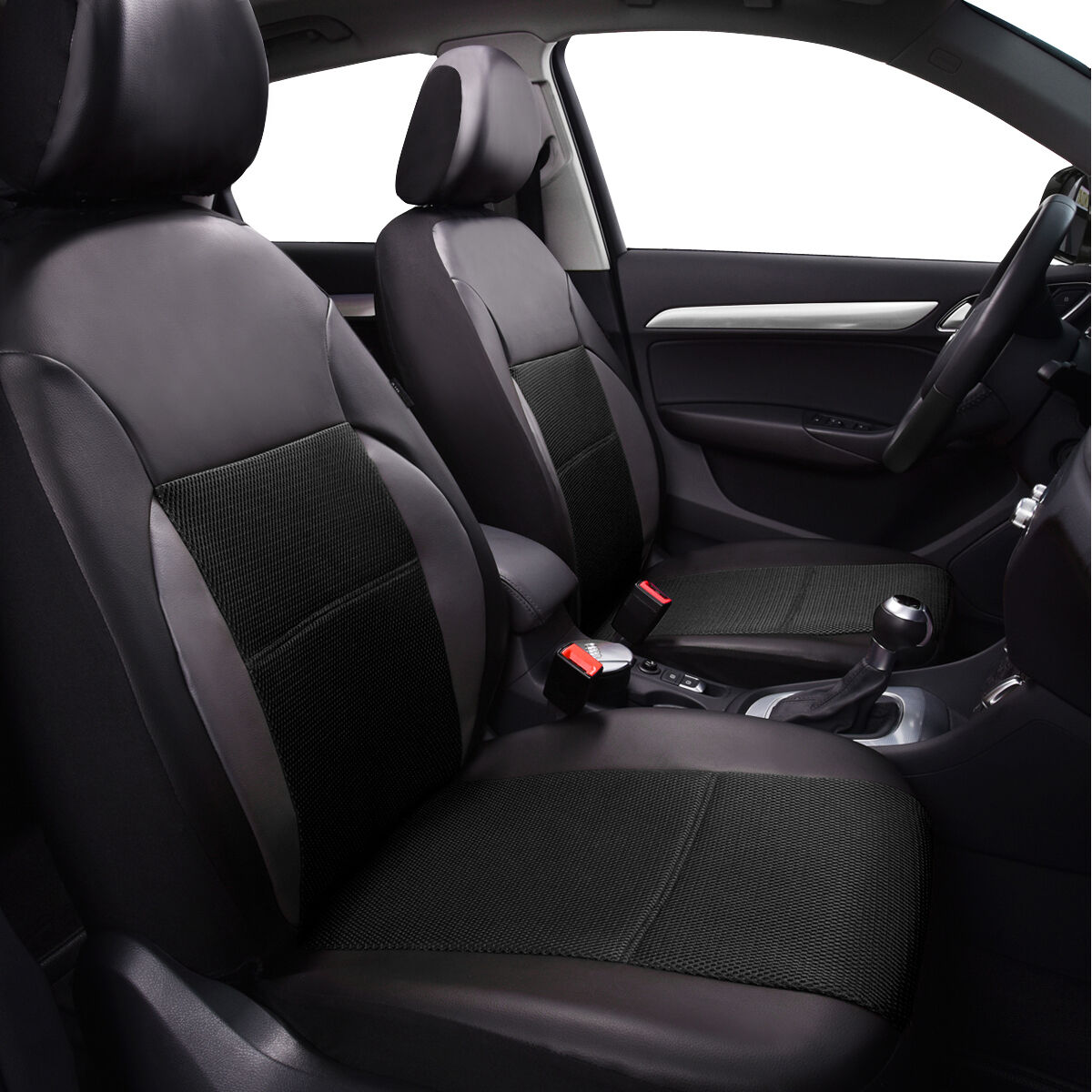 Full Black Breathable PU Leather Universal Fit Car Truck
