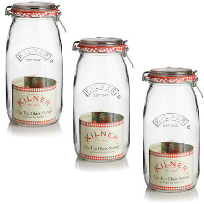 Set of 3 Kilner 3L Clip Top Jars - Airtight Preserve Storage 3 Litre Glass Jar