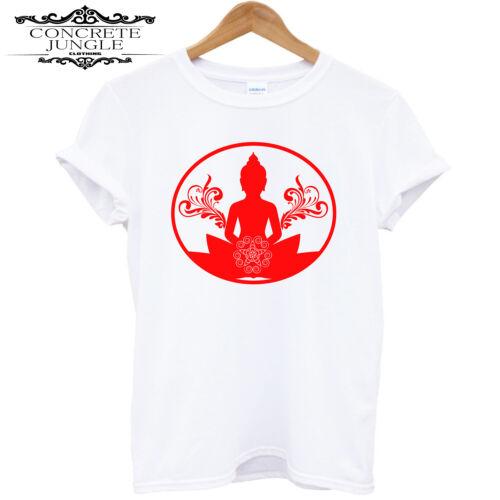 BUDDAH MEDITATING SPIRITUAL TEE YOGA WORKOUT GYM T SHIRT TIBETAN T SHIRT
