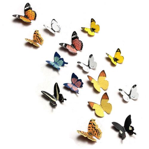 15X DIY 3D Butterfly Wall Stickers Art Decal Paper Butterflies Home Decor L#