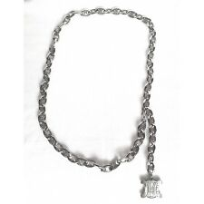 CELINE Elegant Vintage Silver Tone Chunky Chain Belt Necklace 100cms No Dust Bag