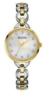 Bulova-Women-039-s-Quartz-Swarovski-Crystal-Accent-Silver-Tone-28mm-Watch-98L208