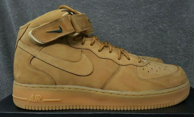 NIKE Air Force 1 Mid '07 PRM QS 'Flax' Wheat OUTDOOR GREEN