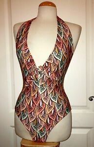 358d50d4 Details about NWT ZARA Leaf Peach Green Yellow Multicolor Tie One Piece  Bathing Suit Swimsuit