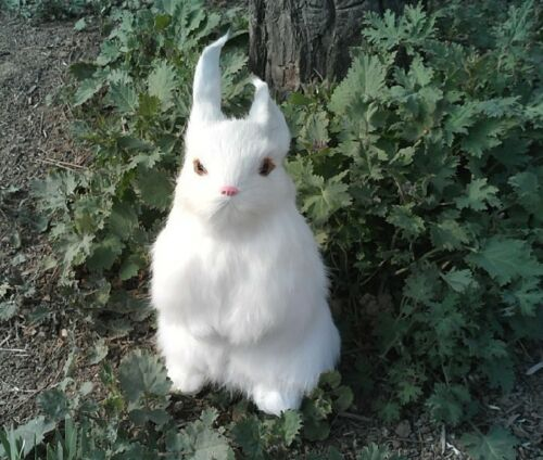 simulation rabbit toy cute white rabbit doll home decoration gift about 23x12cm