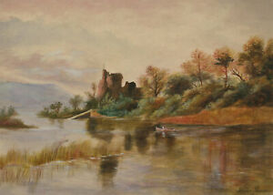 Samuel-Peasse-1906-Watercolour-Autumnal-Lake-Scene