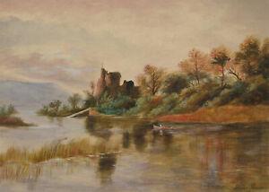 Samuel-Peasse-1906-Watercolour-Autumnal-Lake-Scene