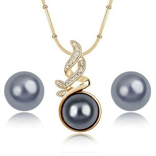 Schmuckset aretes collar trébol o rotgold con perlas fiesta de boda