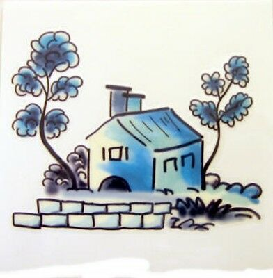 Blue House Rub On Permanent Transfer Glass Tiles Plastic DT102