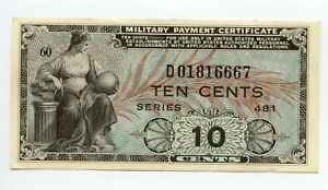 Ten-10-Cent-Military-Payment-Certificate-Replacement-Note-Series-481-XF-AA0505