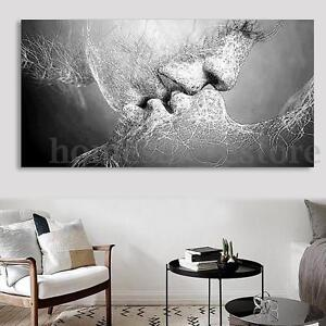 Details About Black White Love Kiss Abstract Art On Canvas Painting Wall Art Picture Print