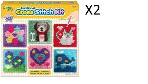 X2 Dog Flower Cross Stitch Kit Kid Girls Art Craft DIY Sewing Learning Gift Toy