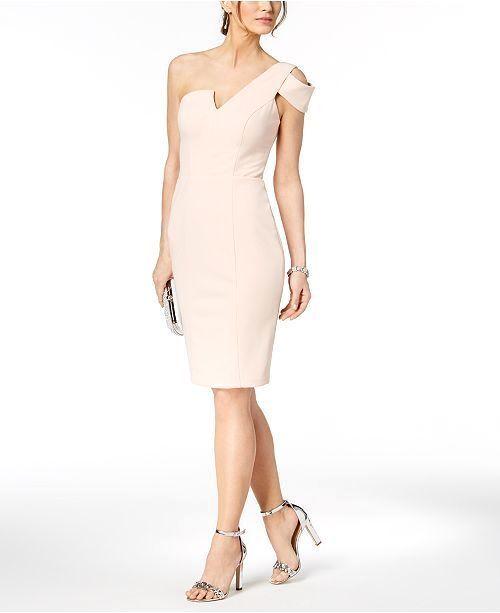 499 BETSY & ADAM WOMEN'S PINK SINGLE-COLD-SHOULDER-CUTOUT SHEATH DRESS SIZE 14