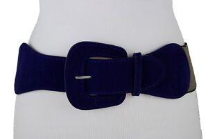 Women Blue Wide Faux Suede Leather Fashion Belt Hip Waist Gold Square Buckle S M