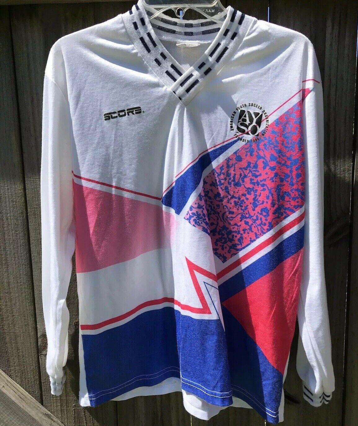 AYSO Soccer Jersey Futbol Shirt LS Men's USA Pink blueee White 1980's Shimmer