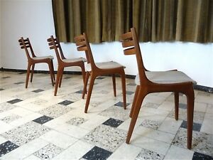 Details About Set Of 4 Scandinavian Mid Century Modern Teak Dining Chairs Stühle 1960s 1960er