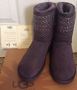 716a73060ac Details about NWB UGG Classic Short Bling Boots Purple Swarovski Crystals