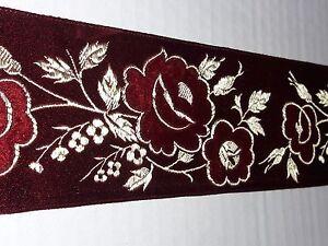 Vintage-Religioso-Design-Fiore-Velluto-Bordeaux-Bendaggio-per-Casula-Seta-7cm