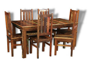 Details About Reclaimed Indian Furniture Sheesham Dining Table 6 Chairs Rf10 6rf11