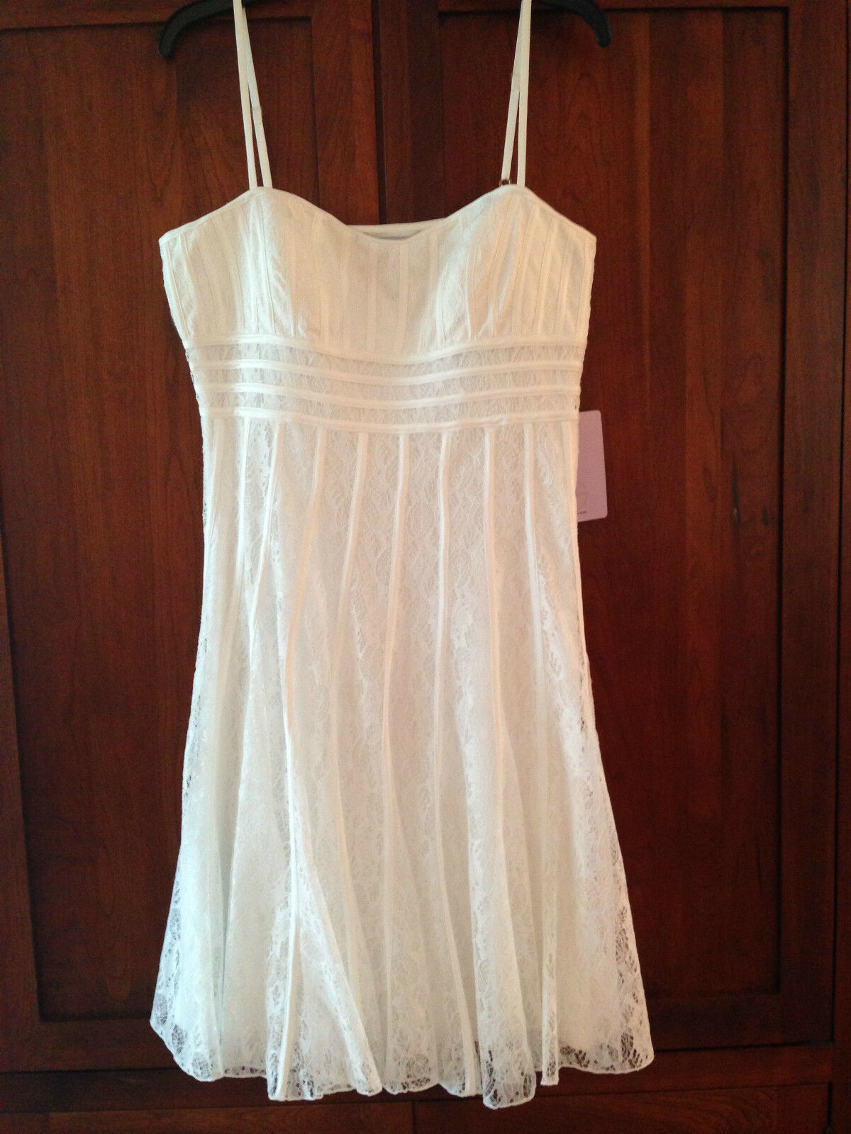 JS COLLECTIONS Ivory Lace Ribbon Dress, SZ 14 NWT