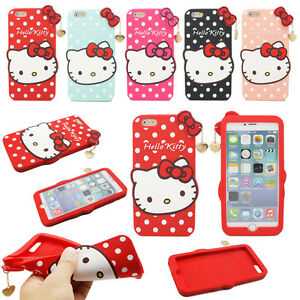 fcdb02860 3D Hello Kitty Bow Soft Silicone Phone case Cover For iPhone X SE 5 ...