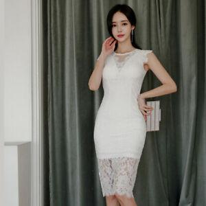 quality design d3560 44c1a Dettagli su Elegante vestito abito tubino ginocchio slim smanicato bianco  pizzo morbido 4340