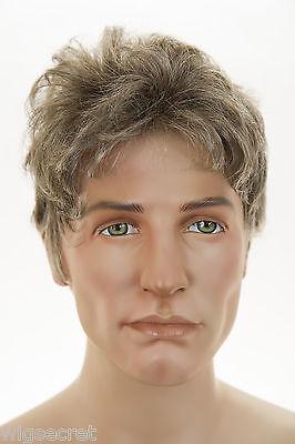 Light Golden Reddish Brown W 35 Grey Temple 51 Grey Short Monofilament Men Wig Ebay