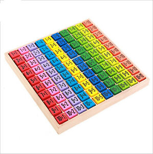 Children-Wooden-Toys-99-Multiplication-Table-Math-Toy-10-10-Figure-Blocks-DSUK