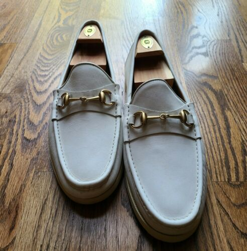 Gucci Horse Bit White Leather Loafers / Men Size 1