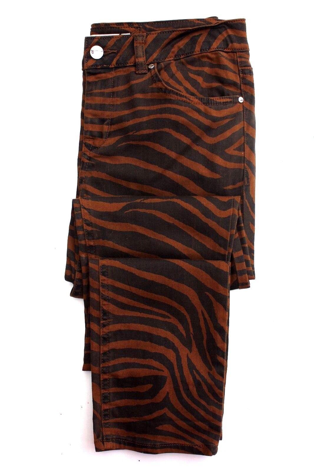 Karen Millen braun Animal Print PN137 Skinny Slim Denim Jeans Trousers 8 36