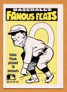 Details About 1986 Fleer Famous Feats Baseball Card 13 Eddie Plank