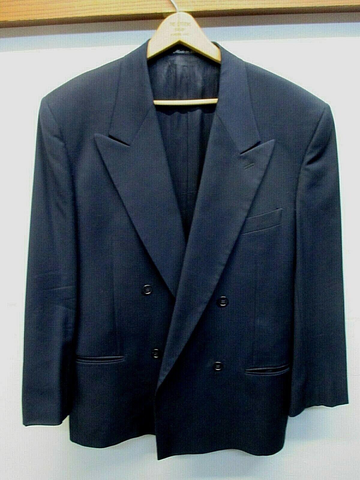 EUC  Men's Suit 40R Giorgio Armani Wool Peak lapel Vtg Double Breasted Navy bluee