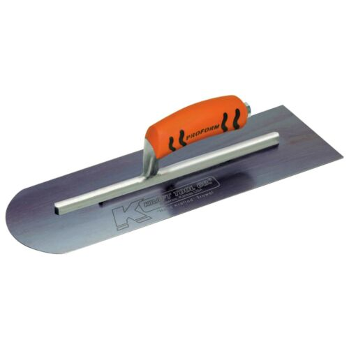 """16/"""" x 4/"""" Round Front//Square Back Blue Steel Concrete Finishing Trowel"""