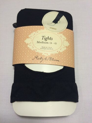 L 7-10 NWT Girl/'s Ruby /& Bloom Stirrup Tights 3PACK Black color Size M 4-6
