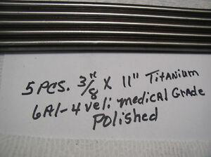 """5//8/"""" TITANIUM ROUND ROD 1 pc FINE LINE ON OD 6AL-4VELI 23 POLISHED 5//8/"""" x 5/"""""""