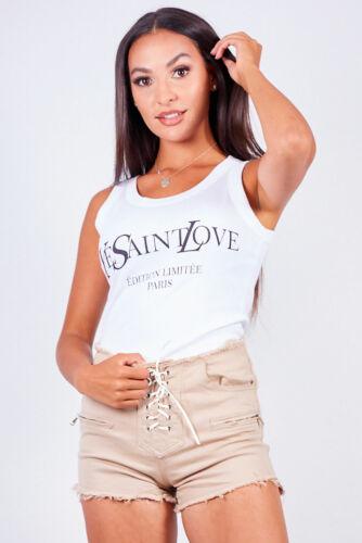 Nouveau Haut Femmes Blanc Ye Saint Amour Slogan T-shirts
