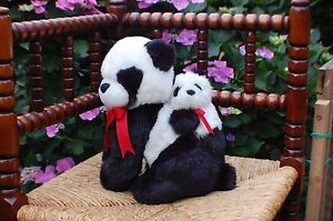 Kempenaar-Netherlands-Vintage-Plush-Panda-Bear-Mother-and-Baby-On-Back-9-5-inch