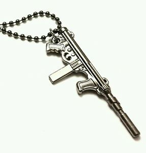 Silver rifle gun pendant necklace gunmetal coloured chain 18 inch ebay image is loading silver rifle gun pendant necklace gunmetal coloured chain mozeypictures Images