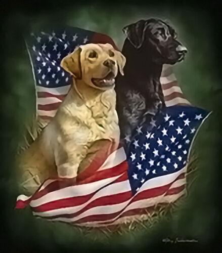 JQ Select Labrador Retriever Patriotic Dogs American Soft Queen Size Blanket