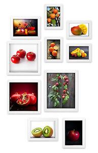 Premium-Bilderrahmen-Set-10tlg-4-Groessen-Rahmen-Bilder-Galerie-Collage-weiss-NEU