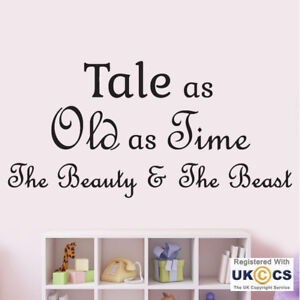 Wall Stickers Tale Old Time Beauty Beast Quote Fairytale Art Decal