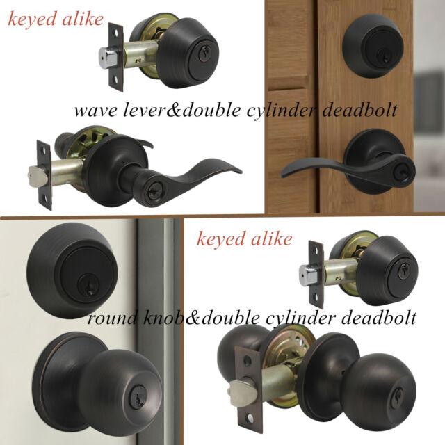 Set of 3 Entry Door handle Lock sets Oil Rubbed Bronze All Locks Keyed Alike
