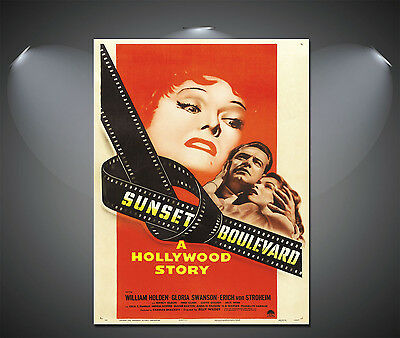Vintage Sunset Boulevard Hollywood Story Movie Film Poster Print Picture A3 A4