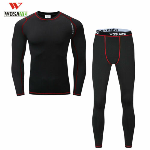 Mens Winter Base Layer Thermal Fleece Warm Compression Underwear Shirts+Pants