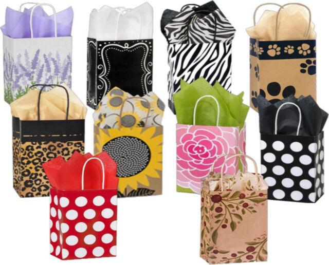 "16 Medium bags foil hot-stamp polka-dot Design New Kraft Gift Bags 8/"" x 10.."