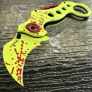 8-034-ZOMBIE-HUNTER-KARAMBIT-CLAW-BLADE-SPRING-ASSISTED-OPEN-FOLDING-POCKET-KNIFE