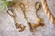 Set of Three Brass Key Rings, Key Chains, Nautical, Propeller, Anchor, and Knot