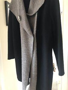 laine Double en Manteau Gris noir Button Beast One r4ZxwX4