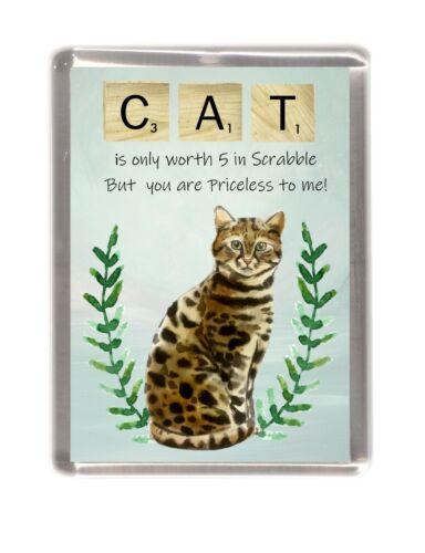"Bengal Cat Fridge Magnet /""Fun Scrabble Wording/""  Handmade Gift by Starprint"