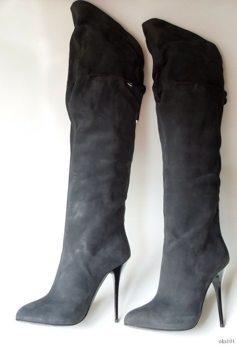 new 1.4K Giuseppe ZANOTTI black suede knee-high OTK TALL BOOTS - classy and sexy